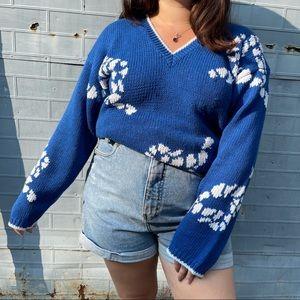 Vintage Royal Blue Knit Sweater w/ Rope Design